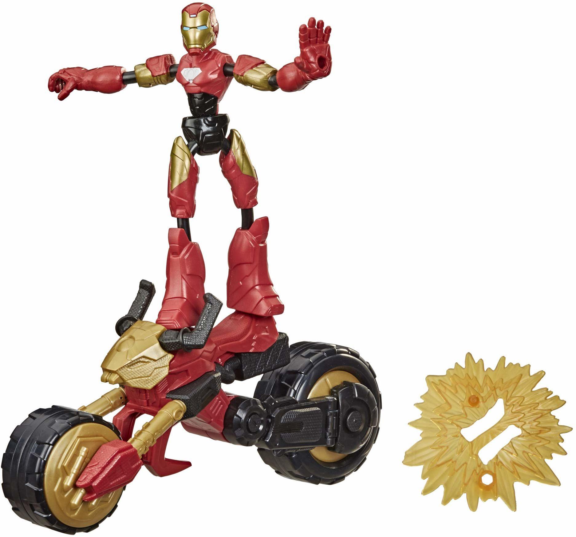 Figurka Iron Man Flex Rider z kolekcji zginanych i odkształcanych zabawek Marvela, 15-centymetrowa giętka figurka i motocykl 2 w 1, dla dzieci w wieku od 6 lat