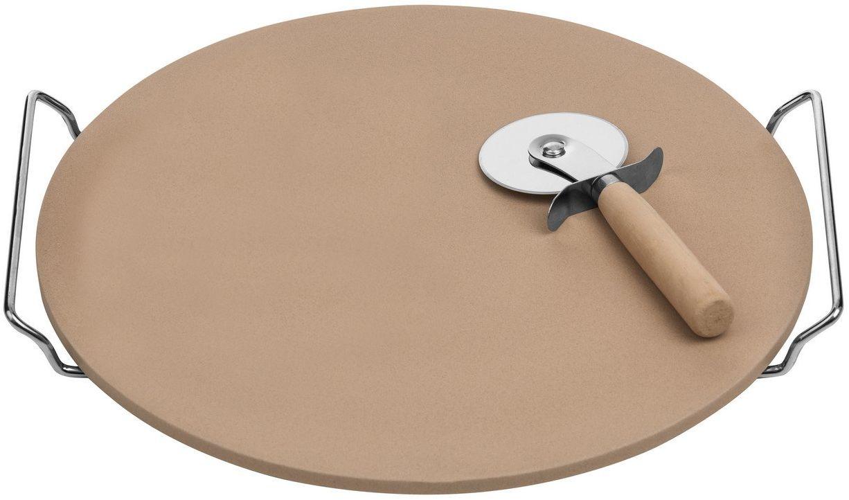 Premier Housewares Zestaw kamieni do pizzy i frezów, deska do kamionki/stojak chromowy, 4 x 35 x 33 cm, naturalny