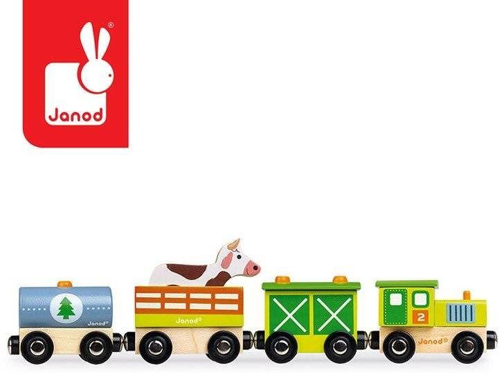 Pociąg drewniany farma story nowa kolekcja, janod