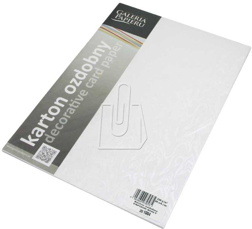 Papier ozdobny ARGO A4 220g Papirus biały 20 Arkuszy /201004/