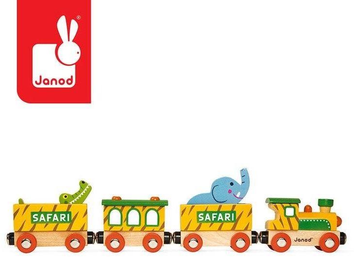 Pociąg drewniany safari story nowa kolekcja, janod