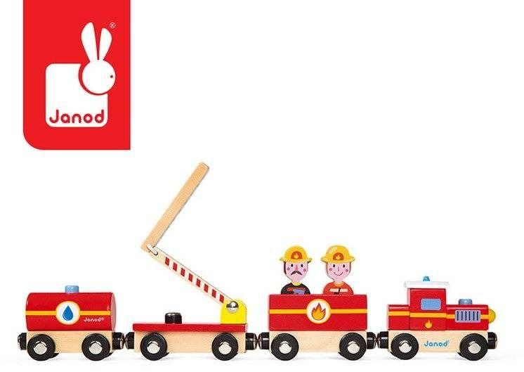 Pociąg drewniany straż pożarna story nowa kolekcja, janod
