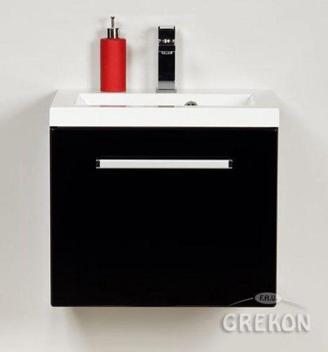 Szafka łazienkowa czarna 50cm z białą umywalką dolomitową, Styl Nowoczesny, FOKUS Gante