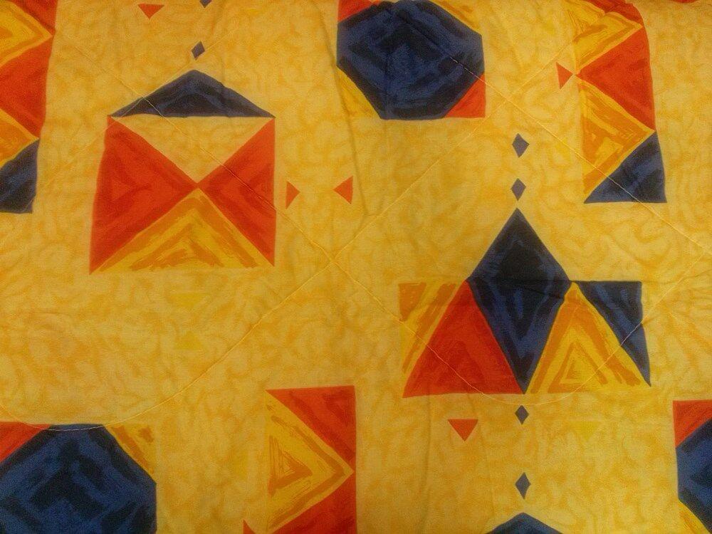 Narzuta bawełniana 160x200 z falbankami zółta czerwona niebieska dwustronna