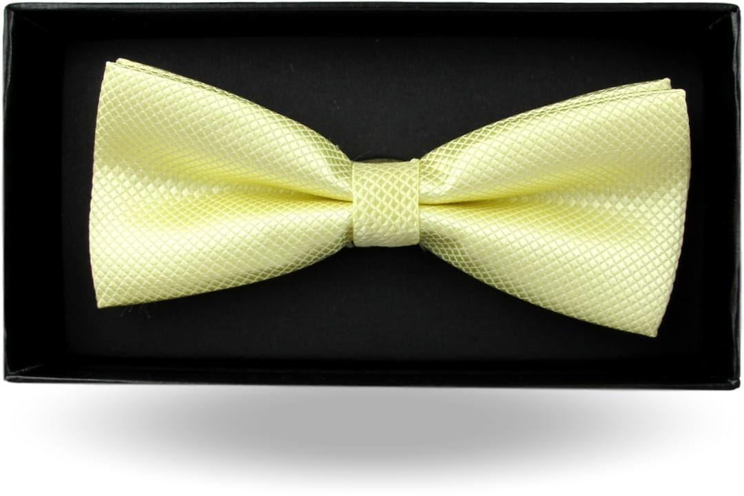 Mucha Muszka Męska Elegancka tradycyjna gotowa żółta kanarkowa w drobną kratę z połyskiem M373