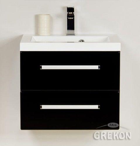 Szafka łazienkowa czarna 50cm z białą umywalką dolomitową, 2 szuflady, Styl Nowoczesny, FOKUS Gante