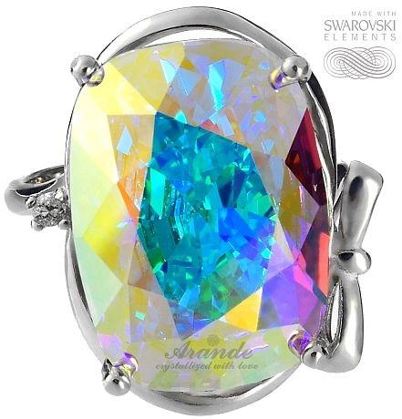 SWAROVSKI SPECIAL pierścionek AURORA SREBRO