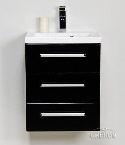 Szafka łazienkowa czarna 50cm z białą umywalką dolomitową, 3 szuflady, Styl Nowoczesny, FOKUS Gante