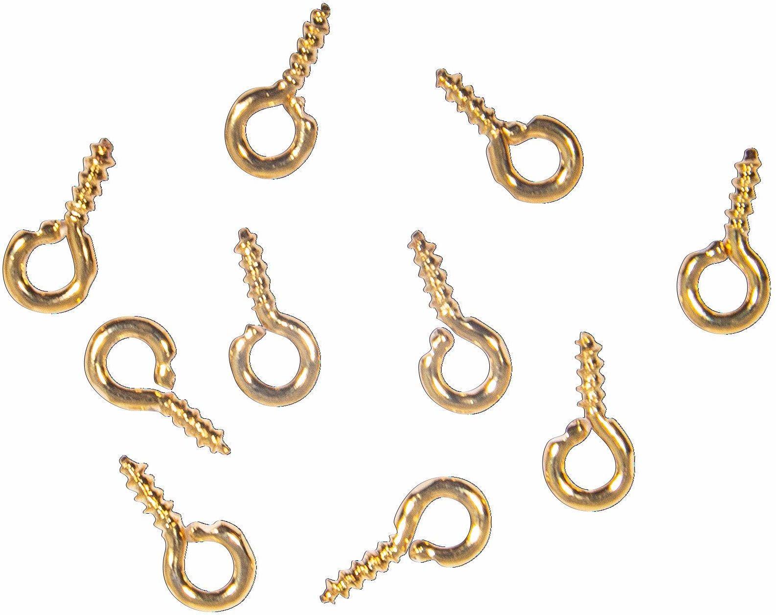 Rayher 22798616 śruba oczkowa, 2 mm, złoto, 8 x 1 mm, SB-Btl 10 sztuk, normalna