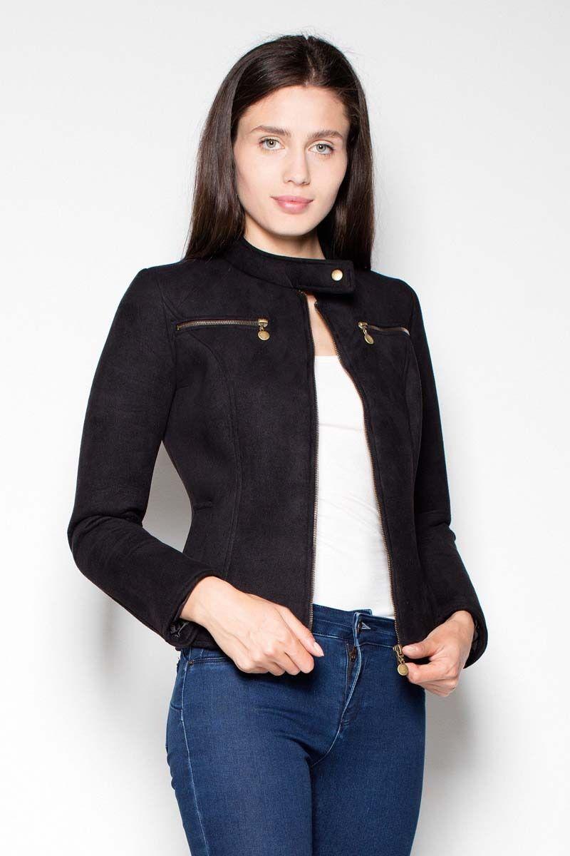Czarna krótka kurtka damska z niską stójką