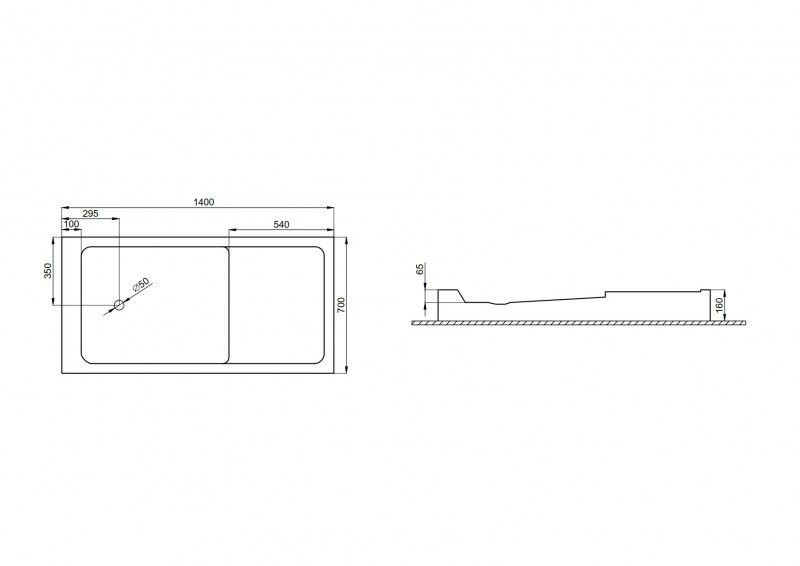 POLIMAT Brodzik prostokątny Mars 140x70x6,5x16 kompaktowy ODBIÓR OSOBISTY W POZNANIU