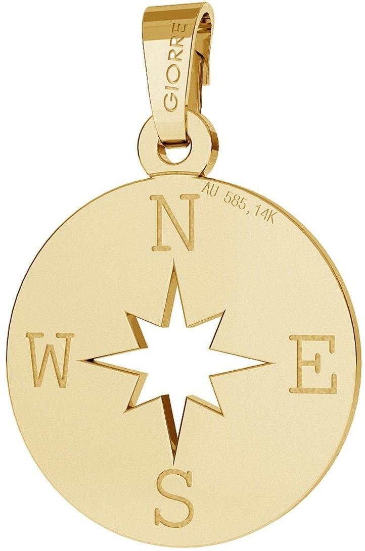 Złota zawieszka kompas, róża wiatrów, au 585 : Złoto - próba - Próba 585 (14K)