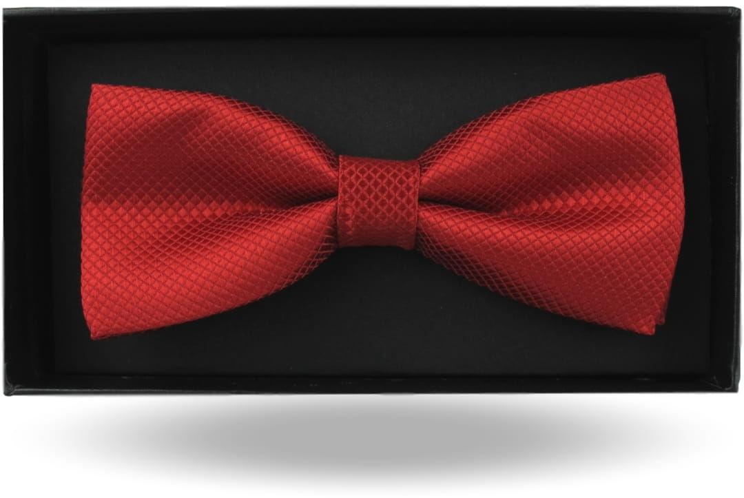 Mucha Muszka Męska Elegancka tradycyjna gotowa czerwona makowa w drobną kratę z połyskiem M376