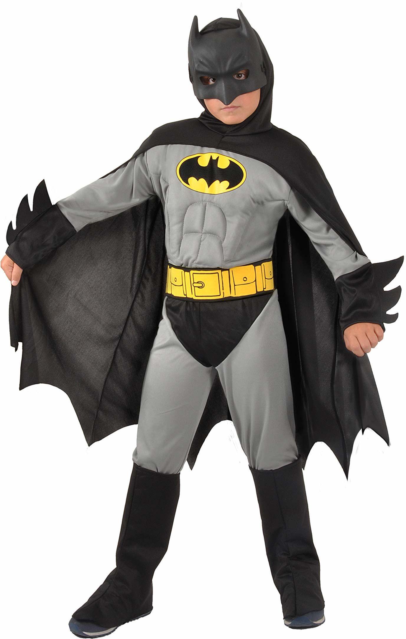 Ciao -Batman Classic kostium dziecięcy oryginalny DC Comics (rozmiar 8-10 lat) z wyściełanymi mięśniami klatki piersiowej, kolor szary/czarny, 11701.8-10