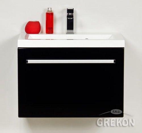 Szafka łazienkowa czarna 60cm z białą umywalką dolomitową, Styl Nowoczesny, FOKUS Gante