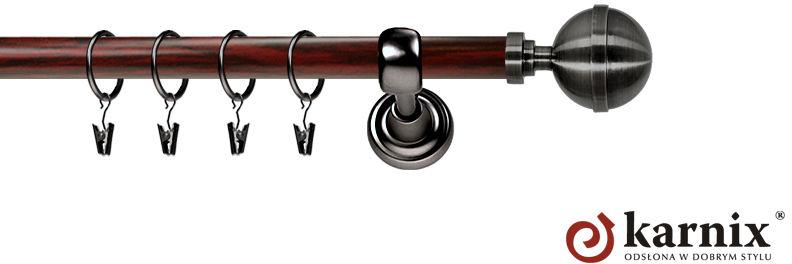 Karnisz Metalowy Prestige pojedynczy 25mm Kula Elegant Antracyt - mahoń