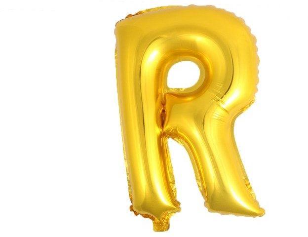 Balon foliowy R złoty 41cm 1szt BF41-R-ZLO