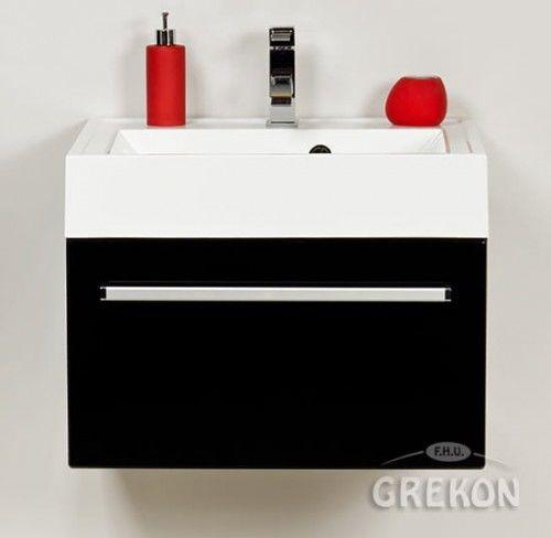 Szafka łazienkowa czarna 60cm z białą umywalką dolomitową UFKS, Styl Nowoczesny, FOKUS Gante