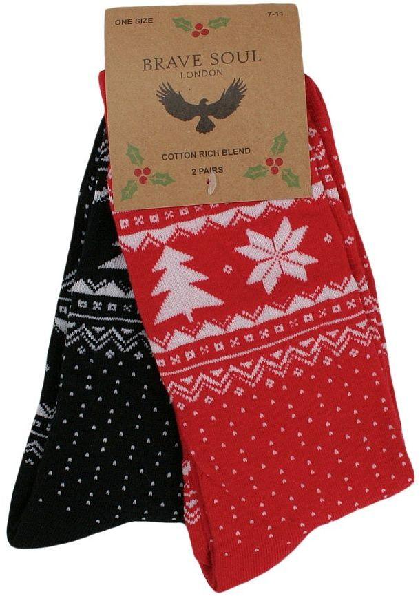 Świąteczne Skarpetki Brave Soul - Dwupak - Czerń i Czerwień SKBRSAW18TREEczarczerw