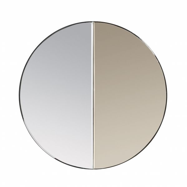 Villa Collection MIRROR Lustro Okrągłe z Dwukolorową Taflą 60 cm - Brązowe