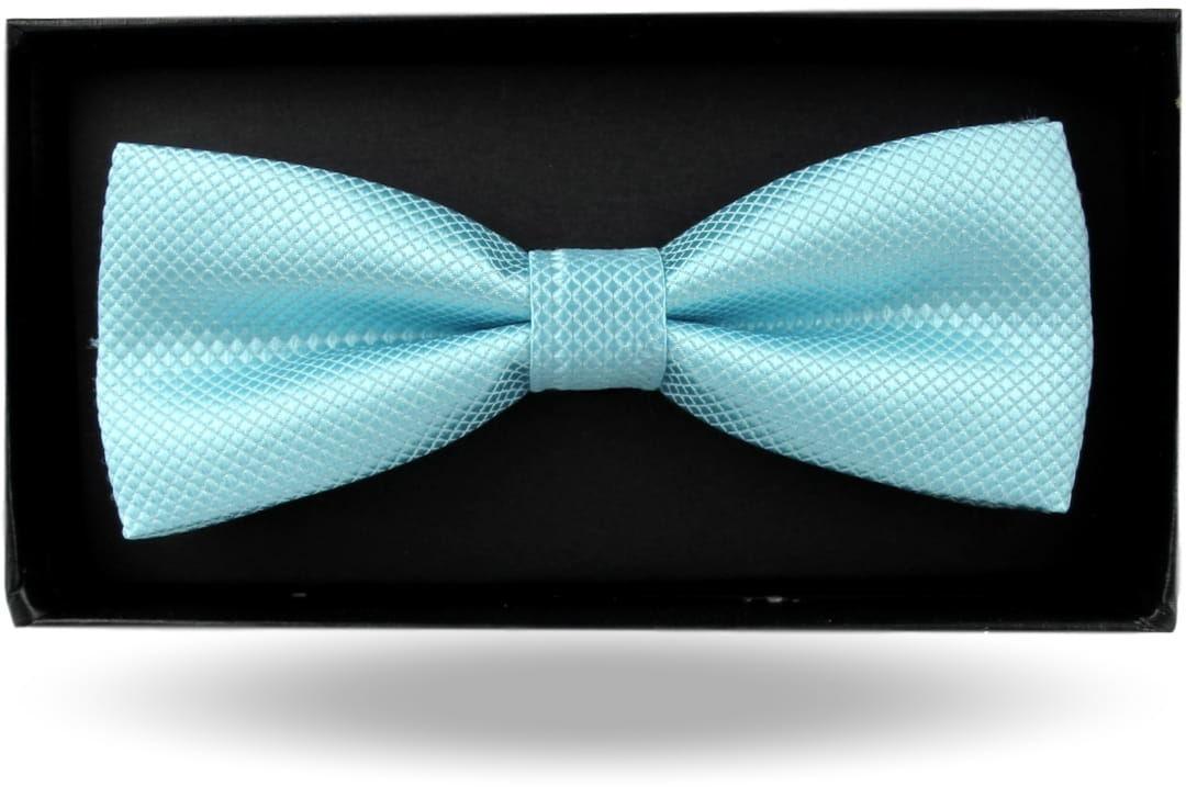 Mucha Muszka Męska Elegancka tradycyjna gotowa miętowa błękitna w drobną kratę z połyskiem M380