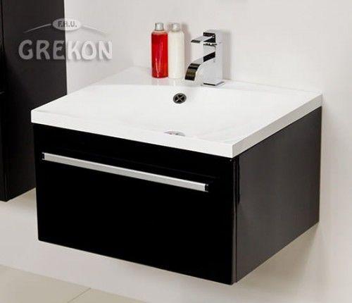 Szafka łazienkowa czarna 60cm z białą umywalką dolomitową Melinda 60x50cm, Styl Nowoczesny, FOKUS Gante