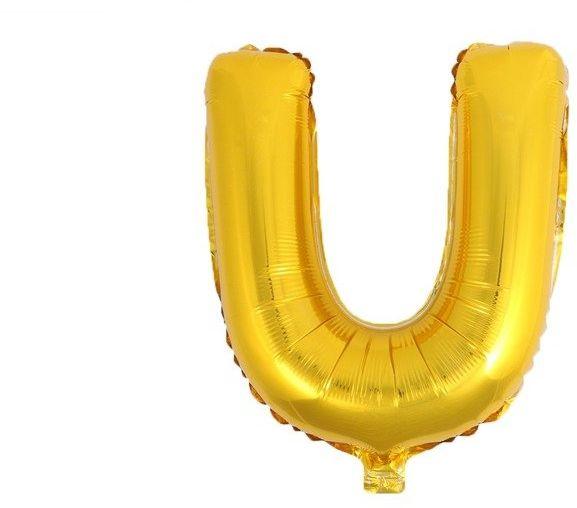 Balon foliowy U złoty 41cm 1szt BF41-U-ZLO