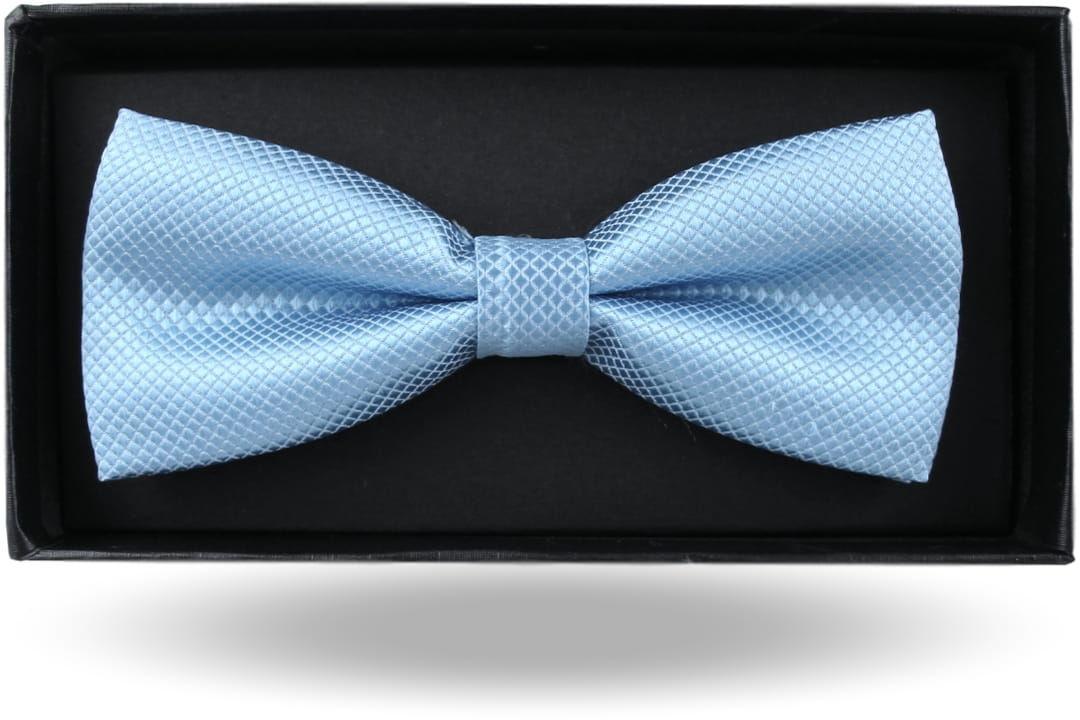 Mucha Muszka Męska Elegancka tradycyjna gotowa niebieska błękitna w drobną kratę z połyskiem M381