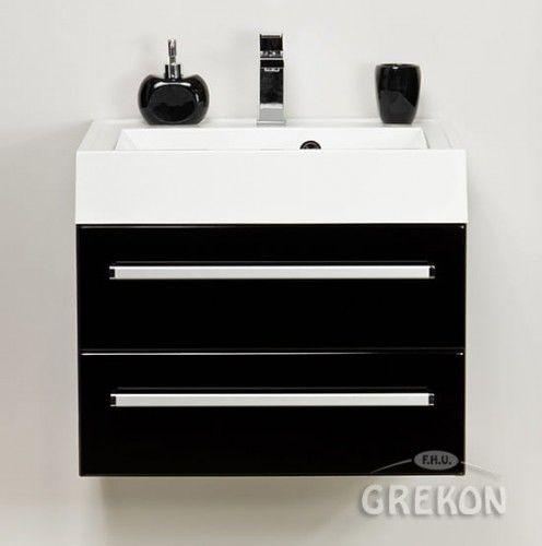 Szafka łazienkowa czarna 60cm z białą umywalką dolomitową UFKS, 2 szuflady, Styl Nowoczesny, FOKUS Gante