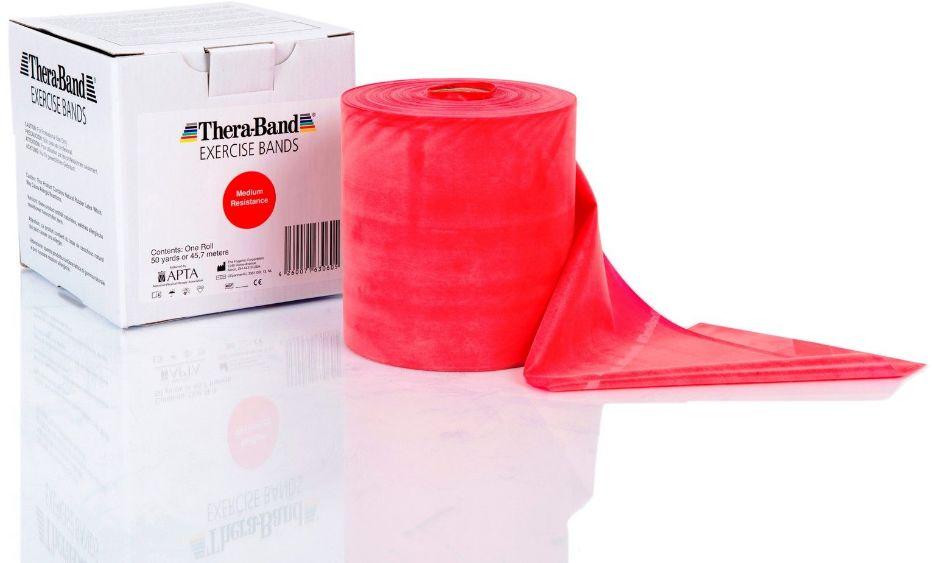 Guma rehabilitacyjna Thera Band o zwiększonej wytrzymałości - rolka 45,5m - czerwona (TB gigant red)