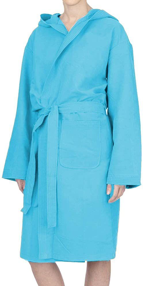 PETTI Artigiani Italiani - Płaszcz kąpielowy z mikrofibry, szlafrok kąpielowy dla mężczyzn, szlafrok kąpielowy z mikrofibry, damski, niebiański, XL, 100% mikrofibra