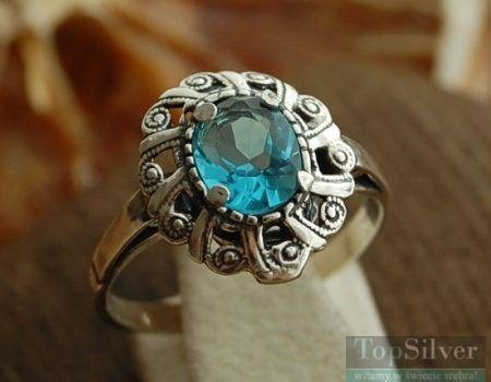 Alis - srebrny pierścionek z akwamarynem