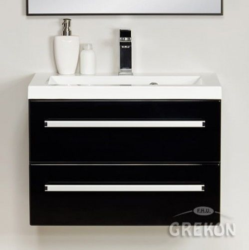 Szafka łazienkowa czarna 60cm z białą umywalką dolomitową Clever, 2 szuflady, Styl Nowoczesny, FOKUS Gante