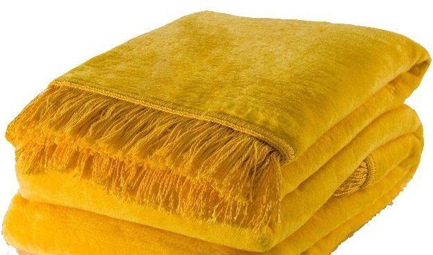 Żółty Miękki Koc - 150x200 cm