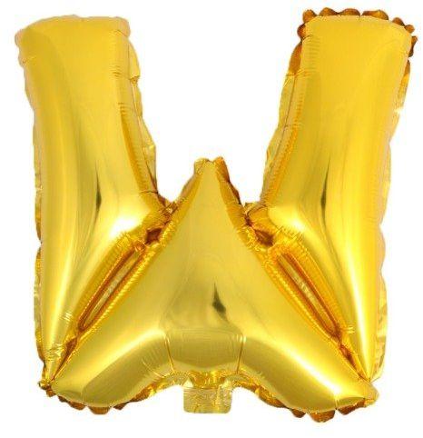 Balon foliowy W złoty 41cm 1szt BF41-W-ZLO