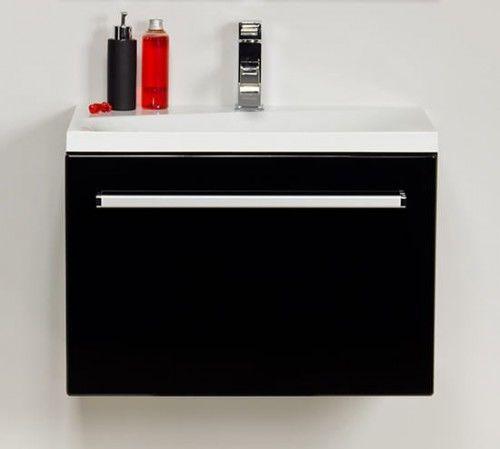 Szafka łazienkowa czarna 60cm z białą umywalką dolomitową Melinda 60x39cm, Styl Nowoczesny, FOKUS Gante