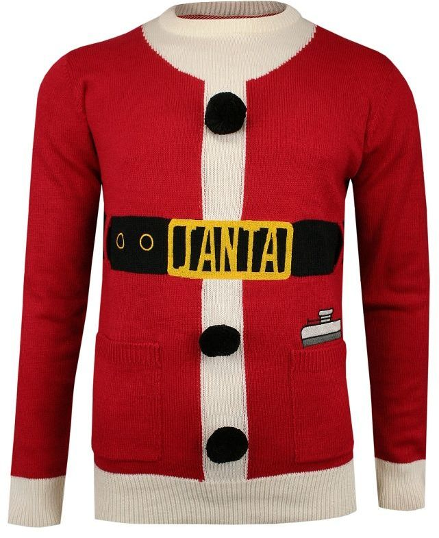 Sweter Świąteczny Świętego Mikołaja, Śmieszny, Pompony, Męski -Brave Soul- SWBRSAW19JINGLESred