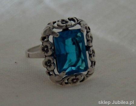Izmir - srebrny pierścień z akwamarynem