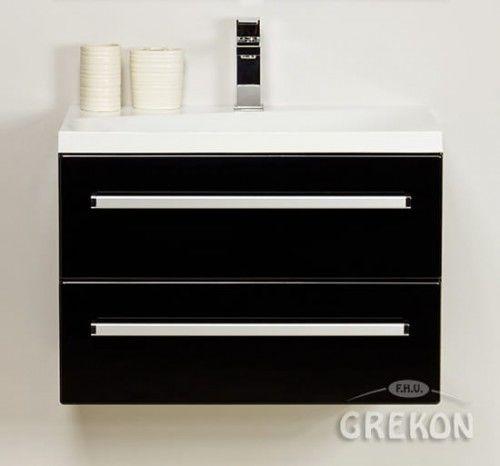 Szafka łazienkowa czarna 60cm z białą umywalką dolomitową Melinda 60x39, 2 szuflady, Styl Nowoczesny, FOKUS Gante