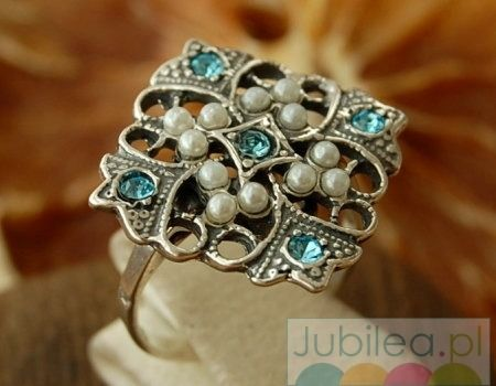 Malta - srebrny pierścionek akwamaryn i perłami