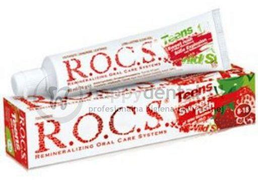 ROCS TEENS SWEET RUSH 60ml - pasta do zębów dla dzieci w wieku 8-18 o smaku słodkiej poziomki
