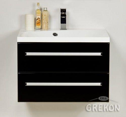 Szafka łazienkowa czarna 60cm z białą umywalką dolomitową Melinda 60x50, 2 szuflady, Styl Nowoczesny, FOKUS Gante