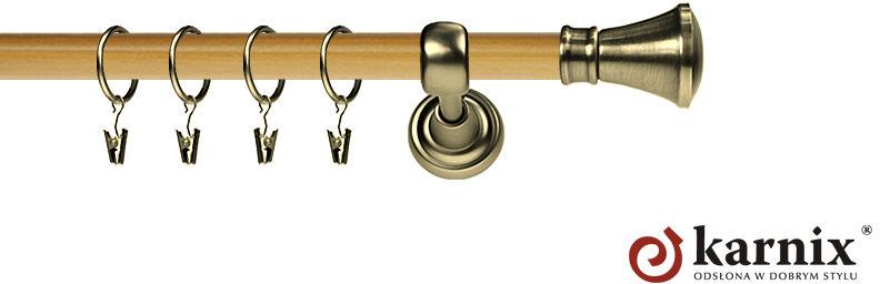 Karnisz Metalowy Prestige pojedynczy 25mm Liberty Antyk mosiądz - pinia