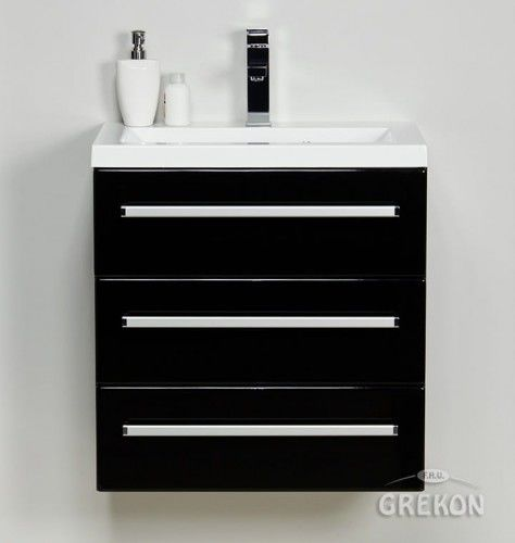 Szafka łazienkowa czarna 60cm z białą umywalką dolomitową Clever, 3 szuflady, Styl Nowoczesny, FOKUS Gante