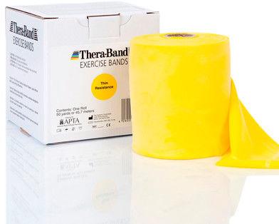 Guma rehabilitacyjna Thera Band o zwiększonej wytrzymałości - rolka 45,5m - żółta (TB gigant yellow)
