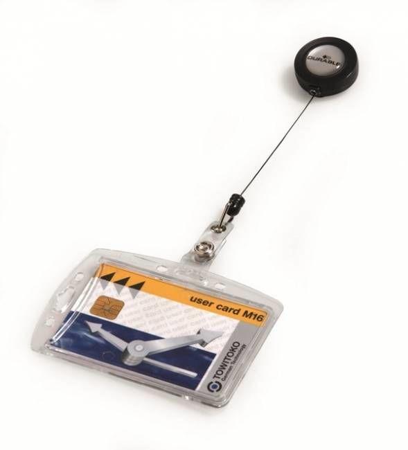 Holder do karty DURABLE 54X85mm z mechanizmem ściągającym - 1 sztuka - X04052