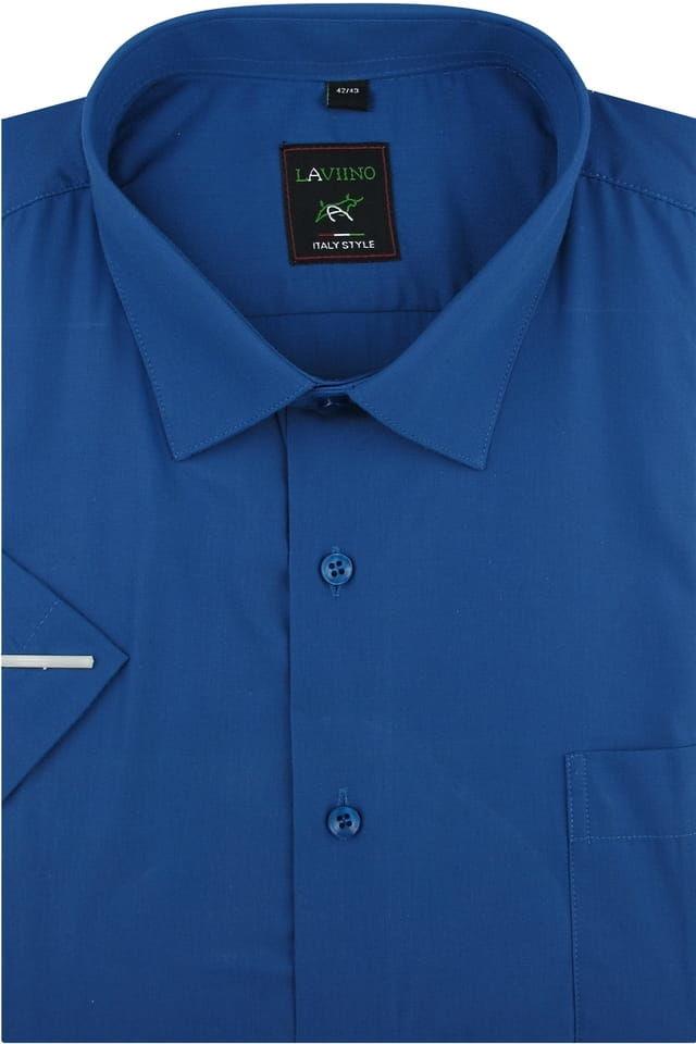 Duża Koszula Męska Laviino gładka chabrowa duże rozmiary na krótki rękaw K702