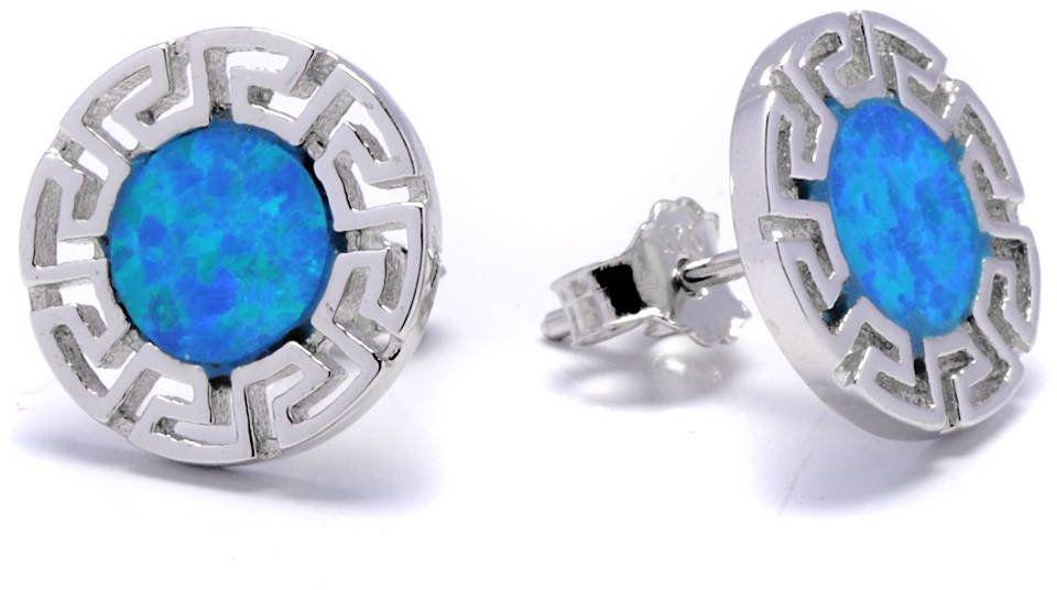 Srebrne Okragłe Kolczyki z Niebieskim Opalem