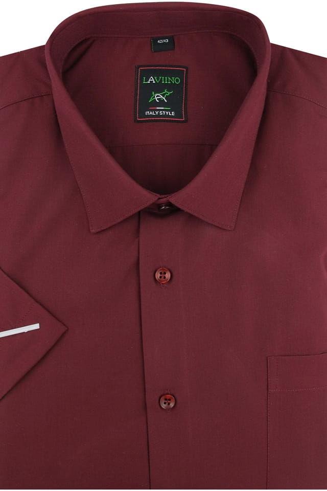 Duża Koszula Męska Laviino gładka bordowa Duże rozmiary na krótki rękaw K703