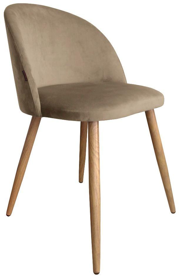Krzesło CLAUDINE 2 VELVET beżowe/dąb  Kupuj w Sprawdzonych sklepach